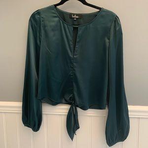 Silk dark green long sleeve blouse